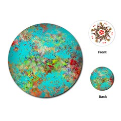 Abstract Garden in Aqua Playing Cards (Round)