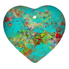 Abstract Garden in Aqua Heart Ornament (2 Sides)