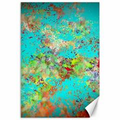 Abstract Garden In Aqua Canvas 12  X 18