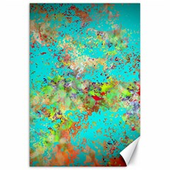Abstract Garden In Aqua Canvas 20  X 30