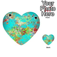 Abstract Garden in Aqua Playing Cards 54 (Heart)