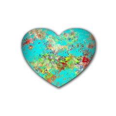 Abstract Garden In Aqua Heart Coaster (4 Pack)