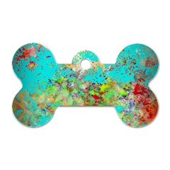Abstract Garden In Aqua Dog Tag Bone (two Sides)