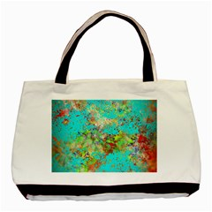 Abstract Garden In Aqua Basic Tote Bag (two Sides)