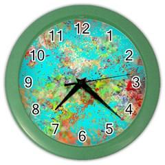 Abstract Garden In Aqua Color Wall Clocks