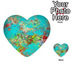 Abstract Garden In Aqua Multi Purpose Cards (heart)