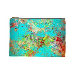 Abstract Garden In Aqua Cosmetic Bag (large)