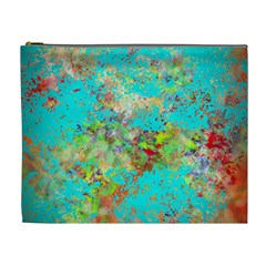 Abstract Garden In Aqua Cosmetic Bag (xl)