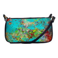 Abstract Garden In Aqua Shoulder Clutch Bags