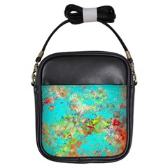 Abstract Garden In Aqua Girls Sling Bags