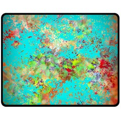 Abstract Garden In Aqua Fleece Blanket (medium)