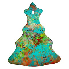 Abstract Garden in Aqua Christmas Tree Ornament (2 Sides)
