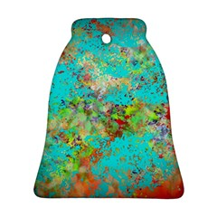Abstract Garden in Aqua Bell Ornament (2 Sides)
