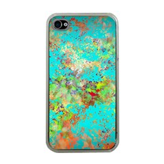 Abstract Garden In Aqua Apple Iphone 4 Case (clear)