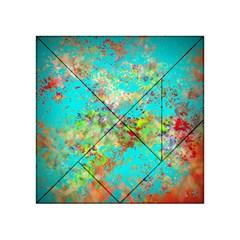 Abstract Garden in Aqua Acrylic Tangram Puzzle (4  x 4 )