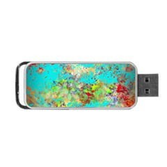 Abstract Garden In Aqua Portable Usb Flash (one Side)