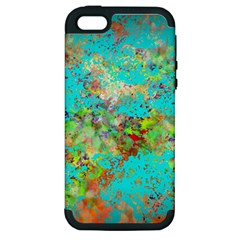 Abstract Garden in Aqua Apple iPhone 5 Hardshell Case (PC+Silicone)