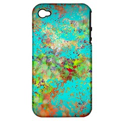 Abstract Garden In Aqua Apple Iphone 4/4s Hardshell Case (pc+silicone)