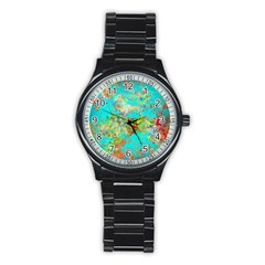 Abstract Garden In Aqua Stainless Steel Round Watches