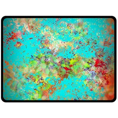 Abstract Garden In Aqua Double Sided Fleece Blanket (large)