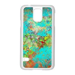 Abstract Garden in Aqua Samsung Galaxy S5 Case (White)