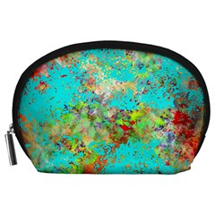 Abstract Garden in Aqua Accessory Pouches (Large)