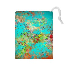 Abstract Garden in Aqua Drawstring Pouches (Large)