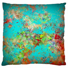 Abstract Garden in Aqua Large Flano Cushion Cases (One Side)