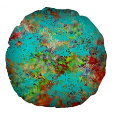 Abstract Garden In Aqua Large 18  Premium Flano Round Cushions