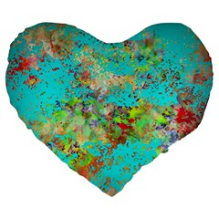 Abstract Garden in Aqua Large 19  Premium Flano Heart Shape Cushions