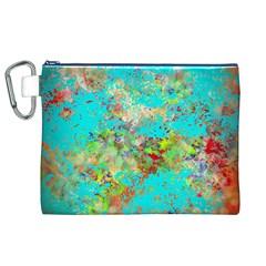 Abstract Garden In Aqua Canvas Cosmetic Bag (xl)