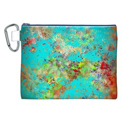 Abstract Garden in Aqua Canvas Cosmetic Bag (XXL)
