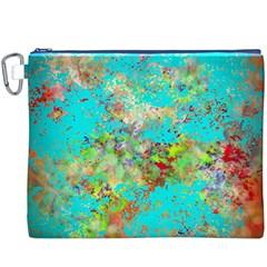 Abstract Garden in Aqua Canvas Cosmetic Bag (XXXL)