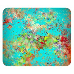 Abstract Garden in Aqua Double Sided Flano Blanket (Small)