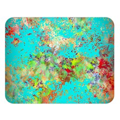 Abstract Garden in Aqua Double Sided Flano Blanket (Large)