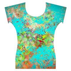 Abstract Garden in Aqua Women s Cap Sleeve Top