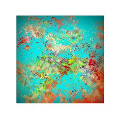 Abstract Garden in Aqua Small Satin Scarf (Square)