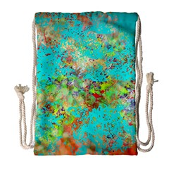 Abstract Garden in Aqua Drawstring Bag (Large)