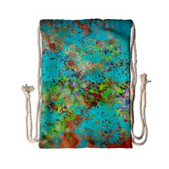 Abstract Garden in Aqua Drawstring Bag (Small)
