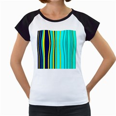 Hot Stripes Aqua Women s Cap Sleeve T
