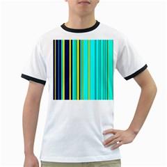 Hot Stripes Aqua Ringer T Shirts