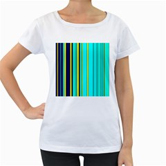 Hot Stripes Aqua Women s Loose-Fit T-Shirt (White)