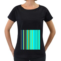 Hot Stripes Aqua Women s Loose-Fit T-Shirt (Black)