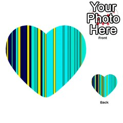 Hot Stripes Aqua Multi-purpose Cards (Heart)