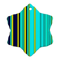 Hot Stripes Aqua Snowflake Ornament (2-Side)