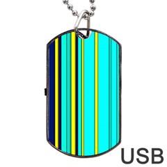Hot Stripes Aqua Dog Tag Usb Flash (one Side)