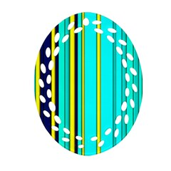 Hot Stripes Aqua Ornament (oval Filigree)