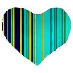 Hot Stripes Aqua Large 19  Premium Flano Heart Shape Cushions
