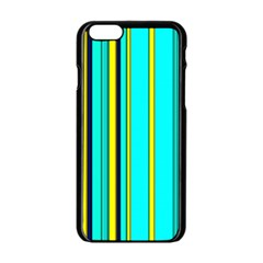 Hot Stripes Aqua Apple iPhone 6 Black Enamel Case