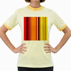 Hot Stripes Fire Women s Fitted Ringer T-Shirts